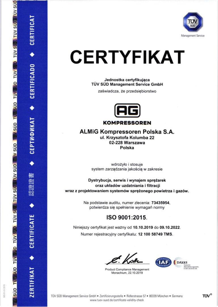 Certyfikat ISO 9001 2015 PL